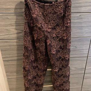 Copper lace pants